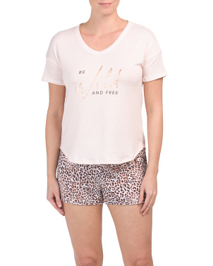 Animal Be Wild And Free Shorty Pj Set