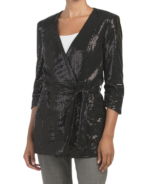 Metallic Sparkle Wrap Knit Blazer