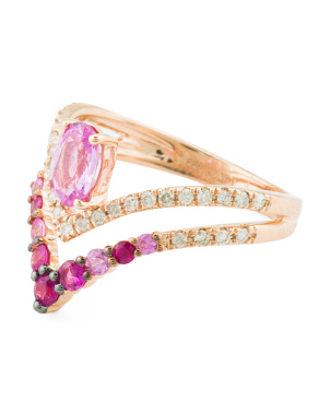 14k Rose Gold Diamond And Pink Sapphire Vintage Style Ring