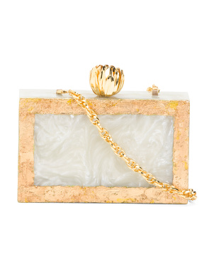 Hand Poured Minaudiere Clutch With Flower Knob And Gold Foil