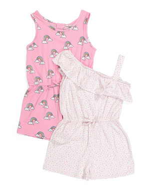 Big Girls 2pk Printed Rompers