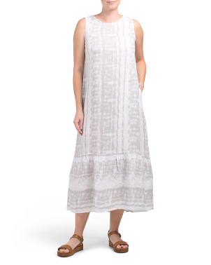 Made In Italy Linen Tie Dye Midi Dress