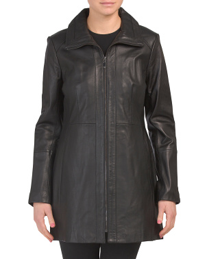 Full Zip Long Leather Jacket