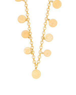 Made In Usa  24k Gold Plated  Coin Station Necklace