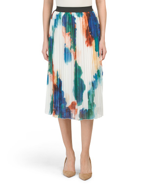 Watercolor Pleated Midi Skirt
