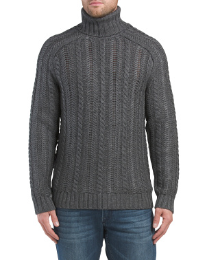 Wool And Cashmere Cable Knit Turtleneck Sweater