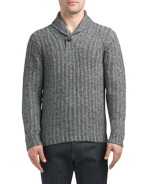 Wool Blend Shawl Collar Pullover Sweater