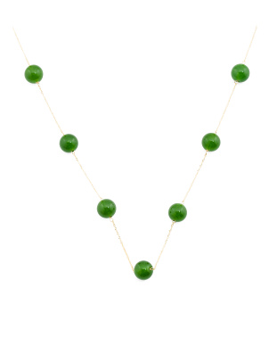 Made In Usa 14 Karat Gold Jade Bead Station Necklace