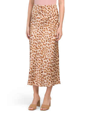 Normani Bias Leopard Printed Midi Skirt