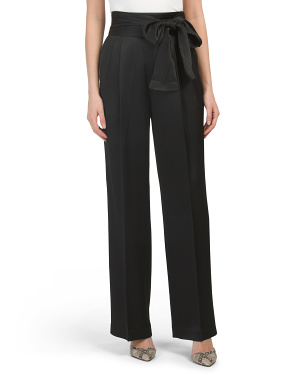 Crepe Pants With Waist Tie
