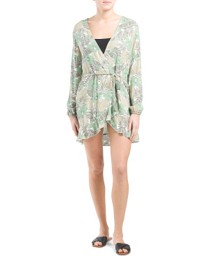 Tropical Long Sleeve Ruffle Wrap Cover-up