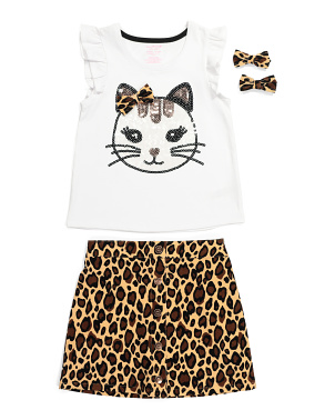 Girls 2pc Cat Leopard Skirt Set
