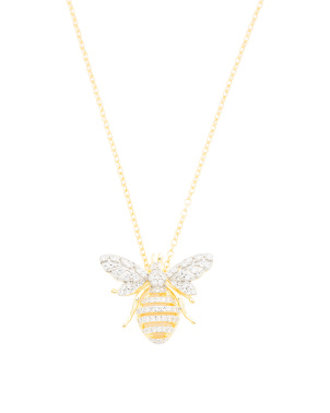 14k Gold Plated Sterling Silver Cz Bee Necklace