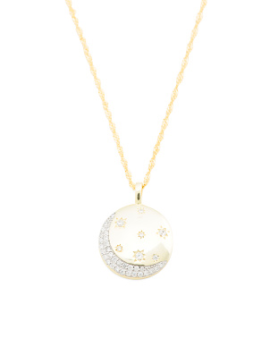 14k Gold Plated Sterling Silver Cz Celestial Necklace