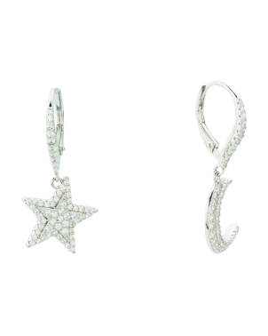 Sterling Silver Moon And Star Cz Drop Earrings