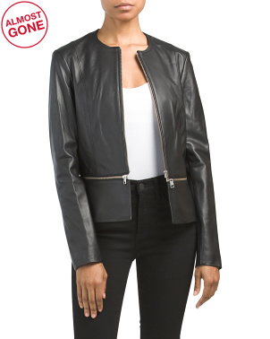 Heidi Lamb Leather Jacket With Zipper