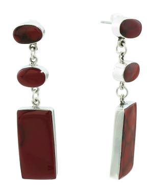 Made In Mexico Sterling Silver Red Jasper Drop Earrings