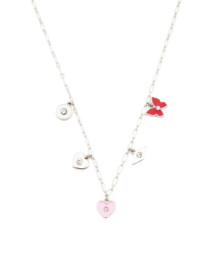 Sterling Silver Enamel Charm Station Necklace