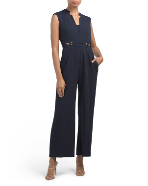 Petite Crepe Notch Neck Jumpsuit