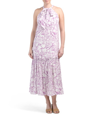 Silk Blend Isa Toile Tie Neck Dress