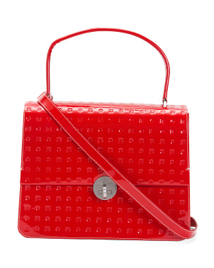 Made In Italy Patent Leather Flap Over Satchel