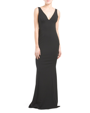 Made In Usa Mischka V-neck Crepe Gown