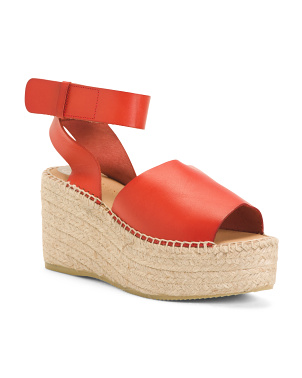 Made In Spain Platform Leather Espadrilles