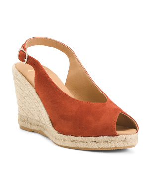 Made In Spain Open Toe Sling Back Suede Wedges