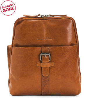 Leather Square Top Buckle Backpack