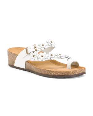 Made In Italy Flower Leather Sandals