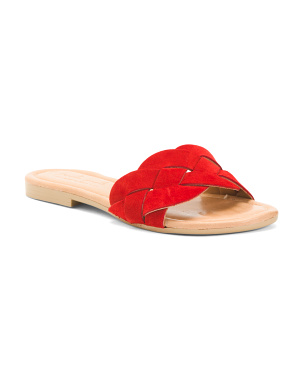 Made In Italy Woven Flat Suede Sandals