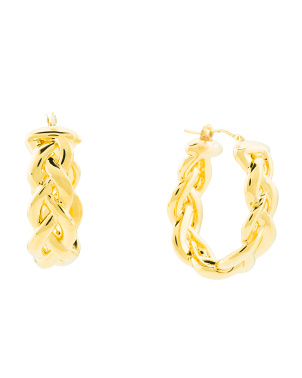Made In Italy 14k Gold Electroform Braided Hoop Earrings