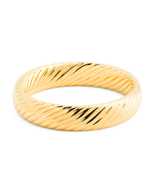 Made In Italy 14k Gold Electroform Torchon Bangle Bracelet