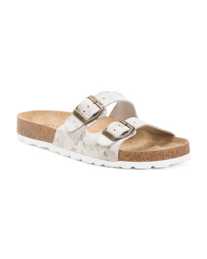 Made In Spain 2 Bands Leather Flat Sandals