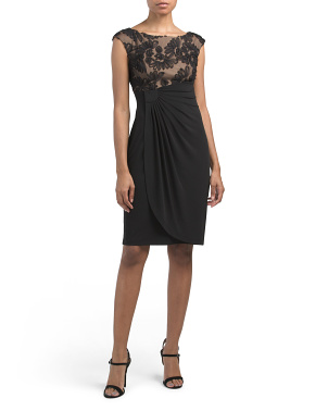 Petite Mesh Soutache Mock Wrap Dress