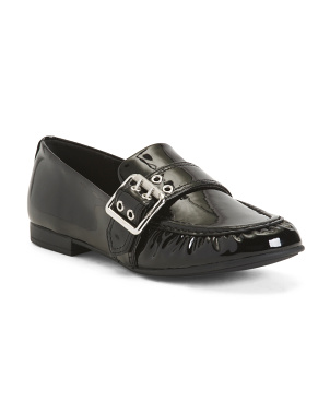 Slip On Patent Leather Loafers With Buckle
