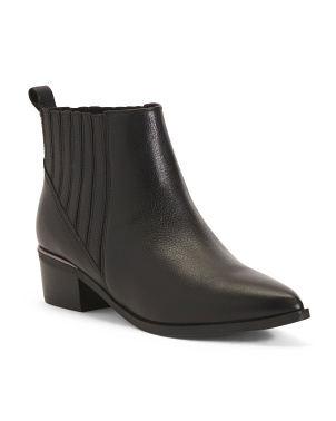 Pointy Toe Leather Low Heel Booties