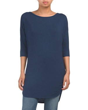 Stretch Knit Tunic Top With Ruched Sides