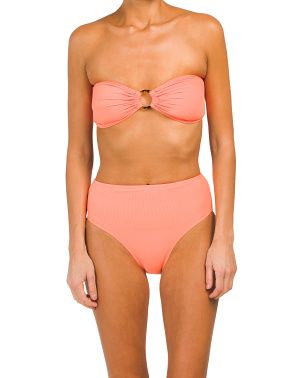 High Waist O Ring Bandeau Bikini Set