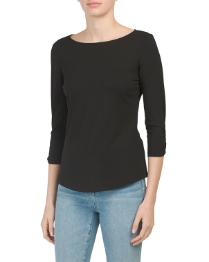 Jersey Boat Neck Cinched Sleeve Top