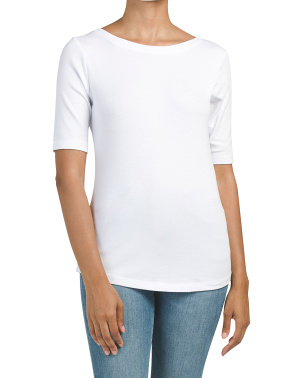 Micro Rib Elbow Boat Neck Top