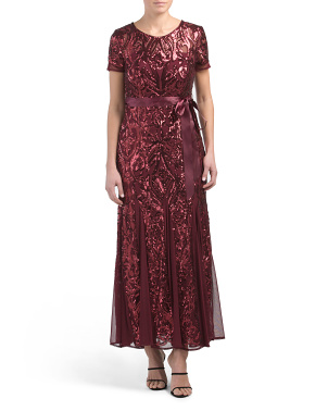 Petite All Over Sequins Tie Waist Gown