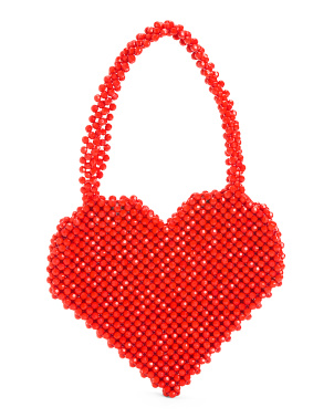 Beaded Heart Bag With Snap Closure