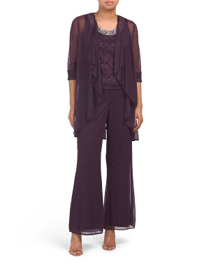 Petite 3pc Pantsuit With Lace Beaded Camisole