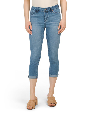 Denim Crop Rolled Skinny Jeans