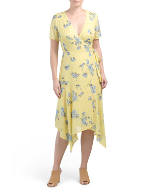 Handkerchief Hem Floral Wrap Dress