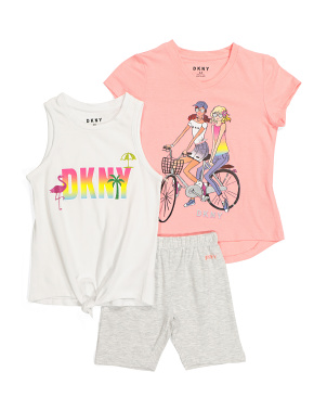 Little Girls 3pc Tie Front Bike Short Set