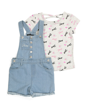 Little Girls Button Front Shortall Set