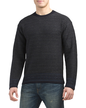 Wool Blend Reverse Fairisle Crew Neck Sweater