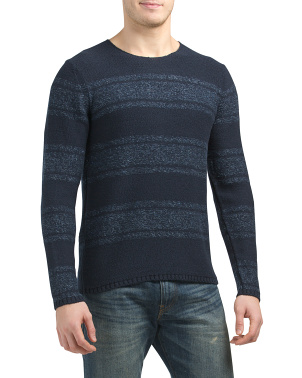 Textured Striped Crew Neck Sweater